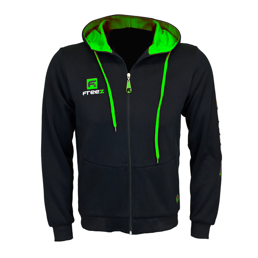 FREEZ VICTORY ZIP HOOD black/green senior  M